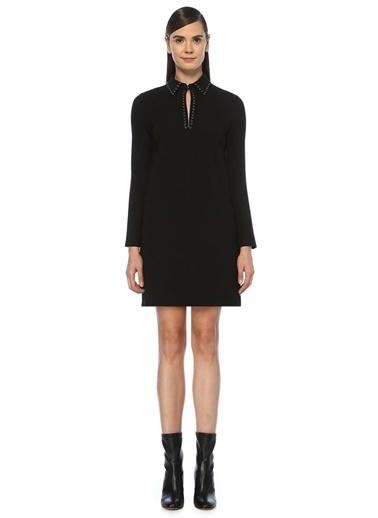 Beymen Club Yakası Troklu Uzun Kol Mini Krep Elbise Siyah